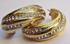 superbe boucles d'oreilles percées couleur or anneaux cristal diamant *2509