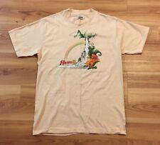 Vtg 70's Hawaii Hanes Beefy T Beach Surfer Shirt L NOS Rainbow Waterfall Tan USA