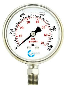 "2"" Pressure Gauge, Stainless Steel Case, Liquid Filled, Lower Mnt, 1000 PSI"