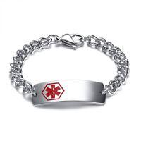 Women Men Stainless Steel Emergency Medical Alert ID Bracelet Chain Cuff Bangle