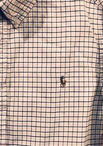 Boys Ralph Lauren Button Down Oxford Shirt Yellow Black White Check L 14-16