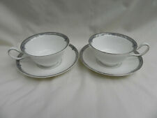 Wedgwood AMHERST 2 x TEA CUPS Peony Shape & SAUCERS Excellent , (No 6)