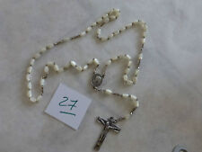 27/ ancien chapelet rosary  perle EN  nacre Croix Coeur  hand made French Rosary