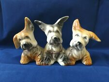 Vntg Skye Terrier Puppy Dog Porcelain Ceramic Figurine White Brown Black Japan