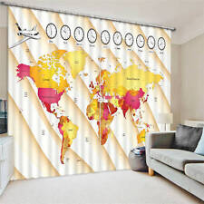Color World Map Clock 3D Blockout Photo Printing Curtains Draps Fabric Window
