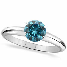 1.00 Carat Round Brilliant Cut Enhanced Blue Diamond Solitaire Engagement Rings