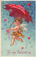 Valentine Postcard Cherub Angel Holding Umbrella Raining Hearts & Flowers~112872