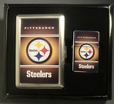 PITTSBURGH STEELERS CLASSIC LOGO CIGARETTE CASE / WALLET & LIGHTER GIFT SET