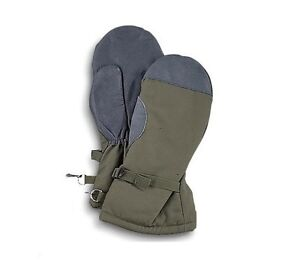 New German Army Issued Goretex Extreme Cold Weather Fur Lined Mitts In Olive