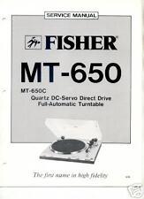 FISHER ORIGINAL Service Manual MT-650 FREE USA SHIPPING