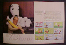 1985 Charlie Brown~Snoopy Schulz 6pg. Article~Story
