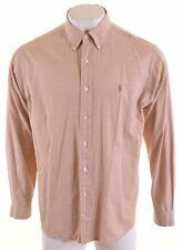 POLO RALPH LAUREN Mens Shirt Size 17 1/2 44 XL Brown Check Cotton Terrance MS20