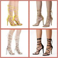 Ladies Women Lace Up 12CM High Heels Ankle Strap Strappy Gladiator Sandals Size
