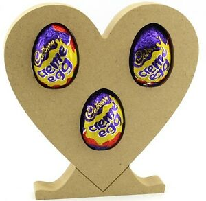 Heart on Stand Freestanding MDF Easter holds 3 Creme Eggs holder Craft 18mm