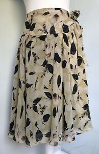 TOAST Ivory Sepia Black Floral Print Pure Silk Wrap Skirt UK 18 Side Tie Floaty