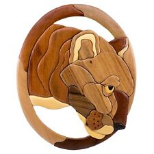 "Wood Intarsia Mountain Lion Cougar Head Wall Hanging 15"" x 12"" Handcrafted New!"