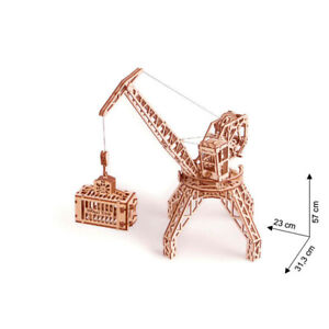 Wood Trick - Wood Model Building Crane With Container Crane 288 Pieces
