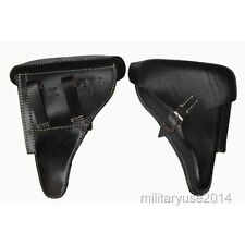 WWII WW2 German Military Brown Officer Leather Luger P08 P-08 Hardshell Holster