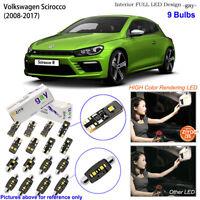 9 Bulbs Deluxe LED Interior Dome Light Kit Xenon White For 2008-2017 VW Scirocco
