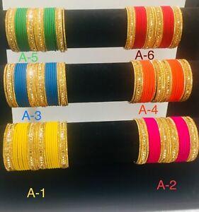 Indian Pakistani Kids Sizes mat Bangles Chudi With Gold Colour 24 Chudiya Girls