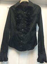 Kulson Solid Black Cotton Blend Casual Blouse Long Sleeves Ruffles Botton Sz S M