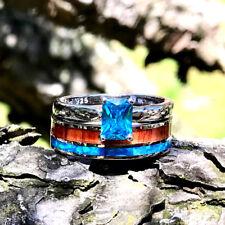 2pc Wedding Ring Set Opal Koa Wood Stainless Steel Sterling Silver Blue CZ