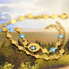 Womens 14K Yellow Gold Filled Heart Unique Evil Eye Chain Bracelet