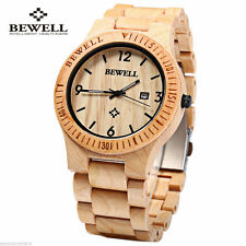 NEW Bewell Quartz Wooden Watch Solid Maple Wood Movement Life Water Resistant