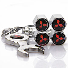 Car Accessories Tire Valve Caps Valve Covers Wrench Keychain Logo For Mitsubishi