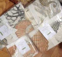 Pottery Barn Monterey Duvet Cover Set Queen 2 Standard Sham Coral Seahorse Shell