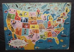 Vintage 1953 CHILDREN'S TRAY PUZZLE Map Of The United States