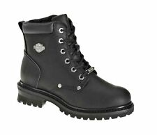 Harley-Davidson® Women's SHAWNEE Lace-Up Black Leather Motorcycle Boots D84399