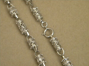 Men's Rhodium Plated 30in Long 11mm Wide Necklace Chain Roman CZ Barrel Links