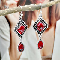 Retro Women 925 Silver Red Ruby Ear Hook Dangle Drop Earrings Proposal Jewelry