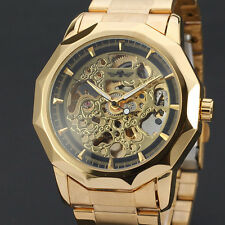 Winner Automatic Stainless Steel Case & Strap Skeleton Golden Watch