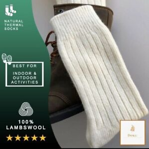 Pure 100% Lambswool Natural Thermal Warm Wool Socks Walking Trekking Camping