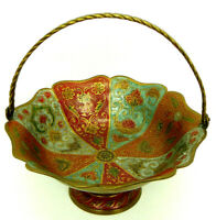 Vintage Brass Enameled Bowl with Floral Design Made in India WITH HINGED HANDLE