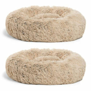 Best Friends by Sheri Luxury 23 In Shag Faux Fur Dog Cat Pet Bed, Taupe (2 Pack)