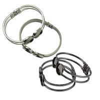4 Stück Schwarz / Silber Messing Manschette Armreif Rohlinge Armband Schmuck