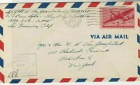 united states 1945 air mail flight stamps cover ref 20049