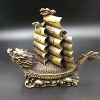 Chinese Antique Brass Dragon Turtle Sailing Home decorations Qianlong Year