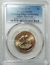 2009 PCGS MS 66 Sacagawea Dollar - MISSING EDGE LETTERING - Mint Error Bright $1