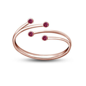 14K Rose Gold Over 925 Silver Adjustable Bypass Toe Ring in Pink Sapphire