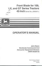 "John Deere OMM136309 42"" Front Blade for 100 LX and GT's Operator's Manual"