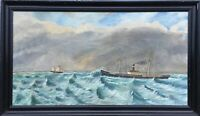 Oil Painting Navy Maritime Steamboat And Sailing Ship on The Sea 30 5/16x52in