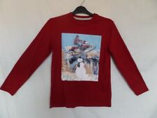 Gap Boys Red Long Sleeve Snowman Print T-Shirt Size 10-11 Years