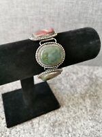 Chunky Vintage Silver Tone Agate Stone Mounted Bracelet Antique Boho Tribal
