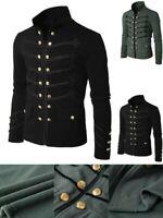 UK Retro Men Victorian Gothic Steampunk Coat Double-Breasted Short Jacket S-5XL