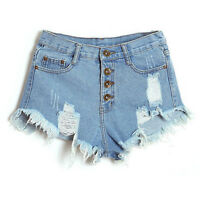 Womens Girls High Waist Shorts Rough Selvedge Ladies Denim Jeans Short Pants Hot