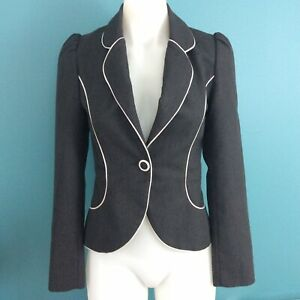 Review Size 6 Blazer Dark Grey Pinstripe w White Piping 1 Button Pockets Fitted